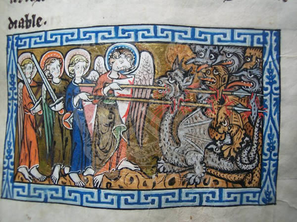 Ms65, f41r, Commentary on the apocalypse, 14thC