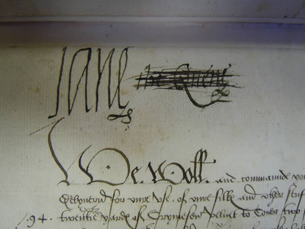Ms328, doc36r. Signature of Lady Jane Grey as Queen, 16thC