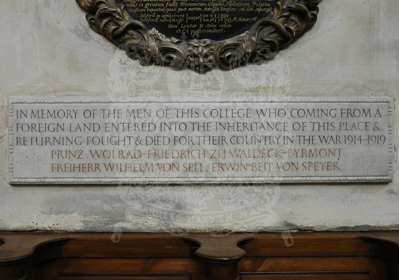 The tablet in the Chapel to those German undergraduates who were killed in World War I