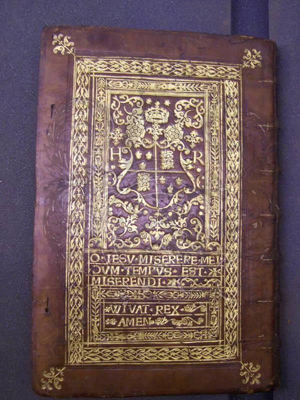MS 136, binding of MS and printed book, gift to Henry VIII by Wouter Deleen