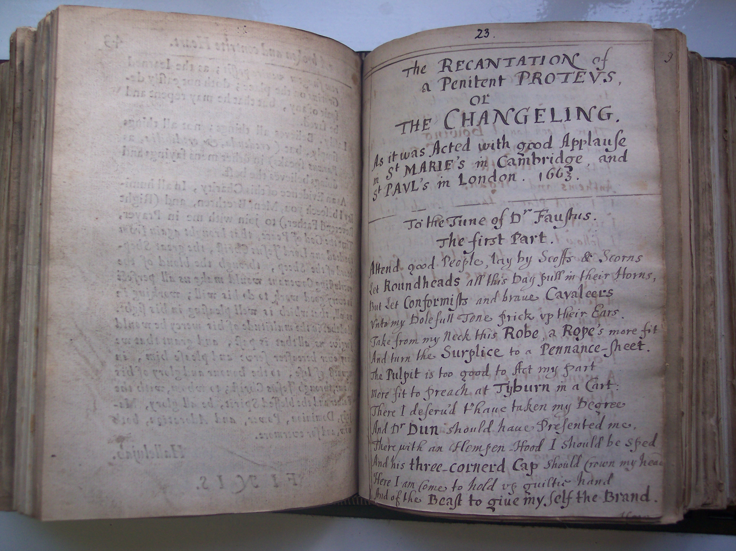 BT3.63.9(23) Robert Wild's The recantation of a penitent Proteus, 1663 (manuscript bound with 38 printed works; printed versions of this appeared also in 1663)