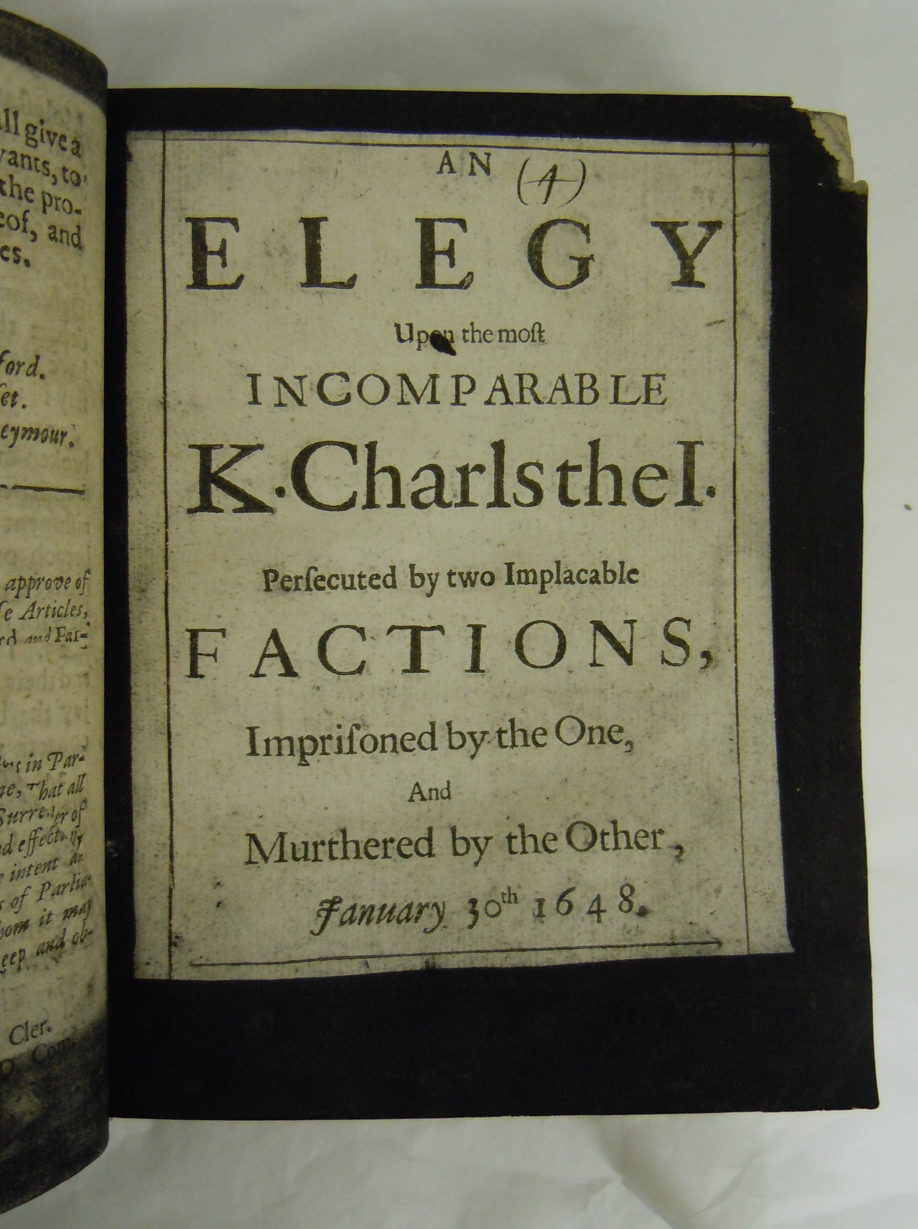 BT1.134.19(4), title page, Henry King's An elegy upon the most incomparable K. Charls the I, 1661