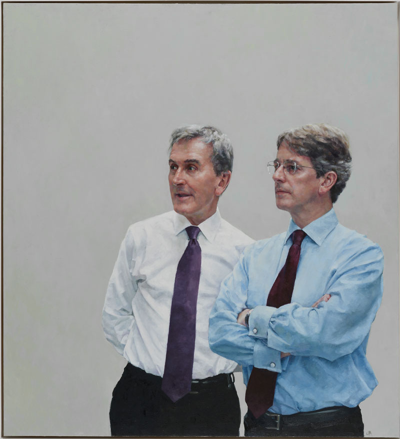 Portrait of Tom Campbell (former CEO of the Metropolitan Museum of Art) and Neil MacGregor (former Director of the British Museum) by Jennifer Anderson. Both are alumni of New College