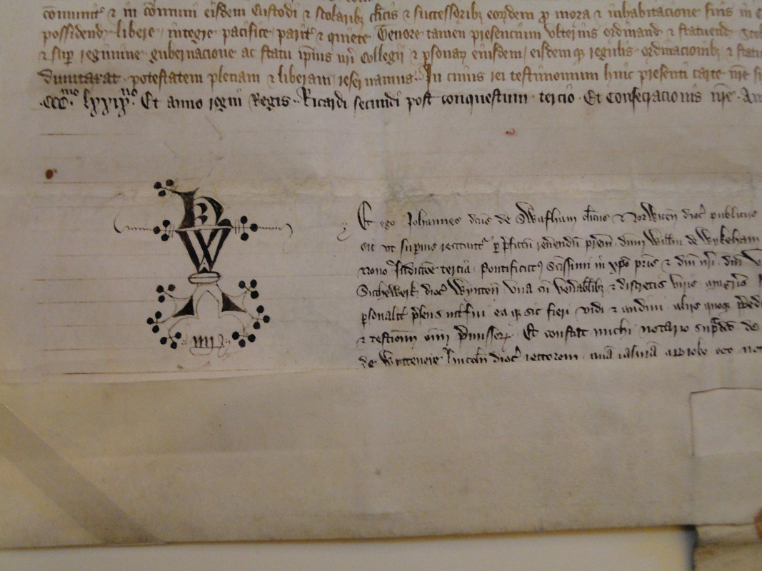Foundation Charter of William of Wykeham's college, witnessed by John de Swaffham, notary, 1379