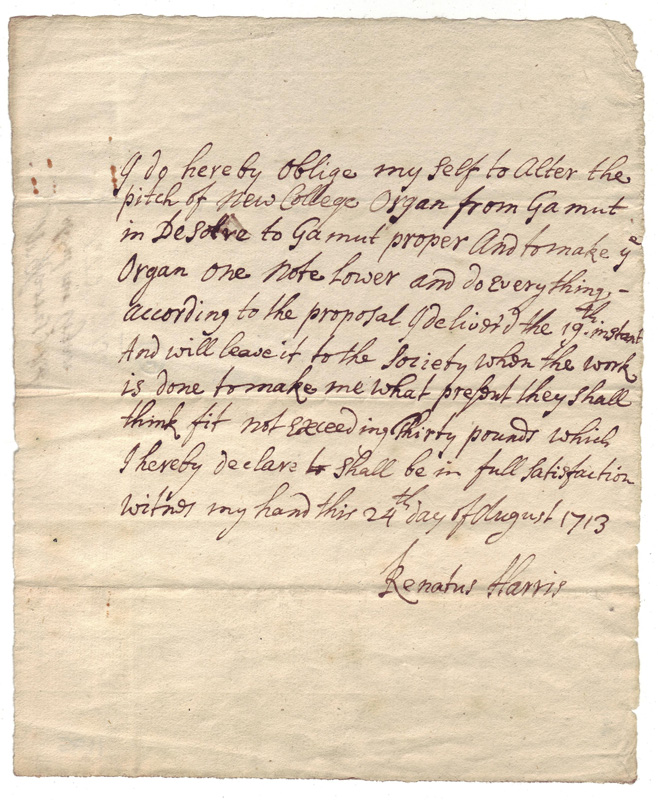 NCA 1195, Renatus Harris's agreement to alter New College's organ, February 1713