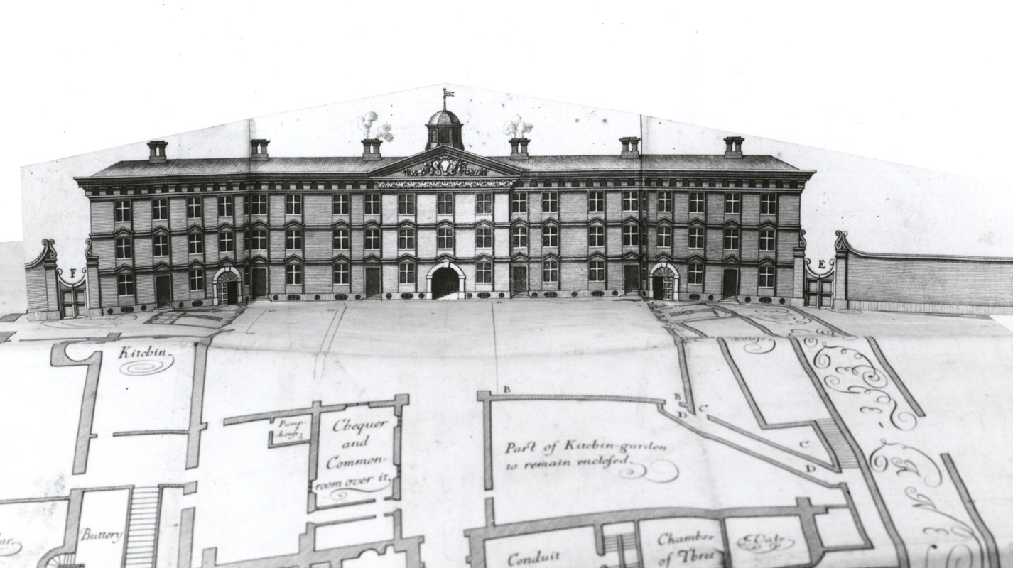 NCA 1682, Michael Burghers's plan with elevation flap covering proposed east range (never built), c. 1680
