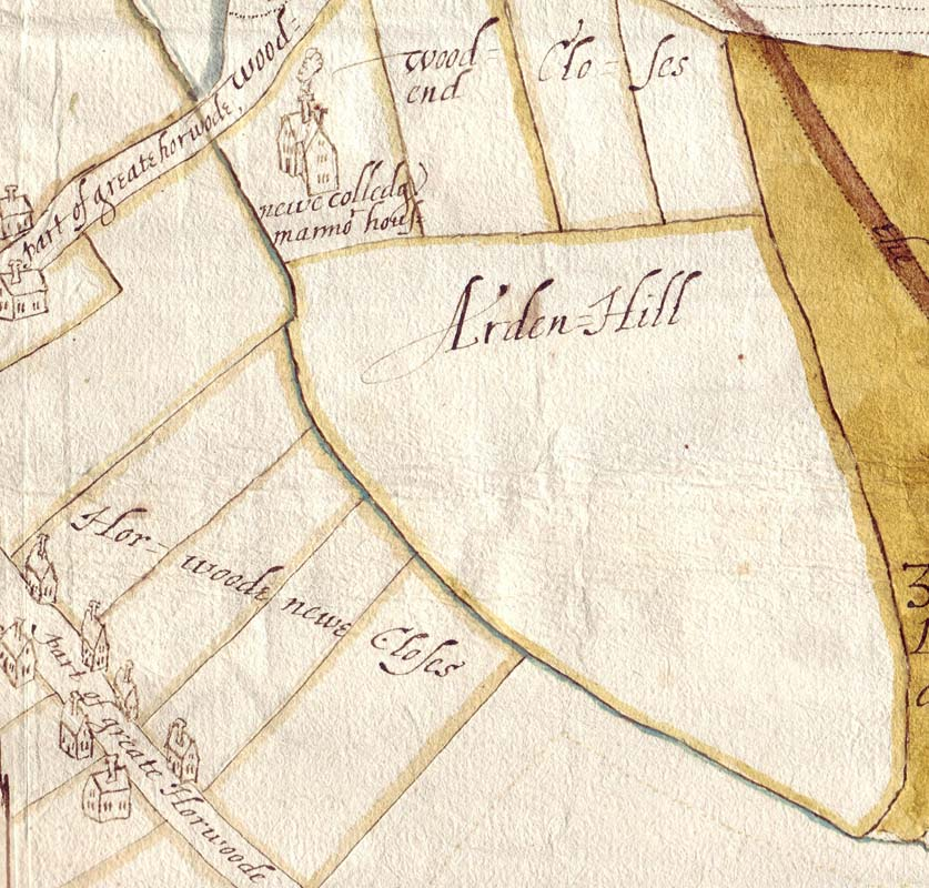 NCA 4507, Richard Sargeant's map of Great Horwood [detail], 1612