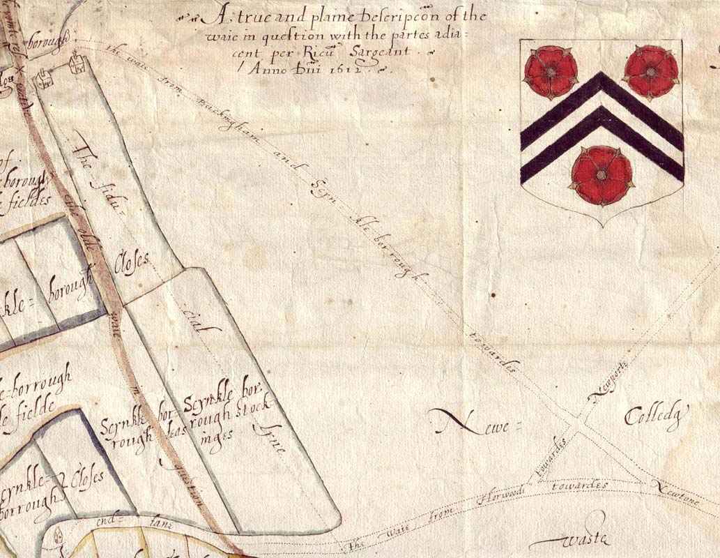NCA 4507, Richard Sargeant's map of disputed right of way in the College's manor of Great Horwood, hamlet of Singleborough, 1612