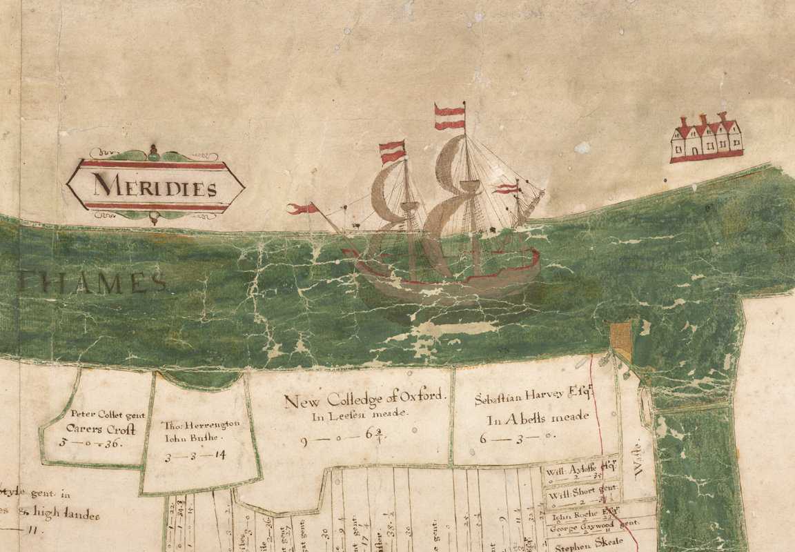 NCA 5617, Ship on the River Thames [detail] from Richard Barnard's map of Havering Marsh, 1600