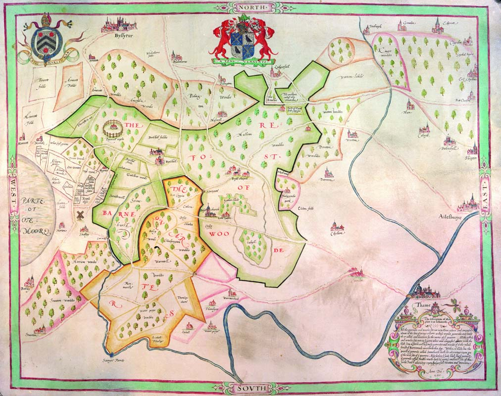 NCA 5671/1, Map of Bernwood Forest with arms of New College and Lord Williams of Thame, 1590