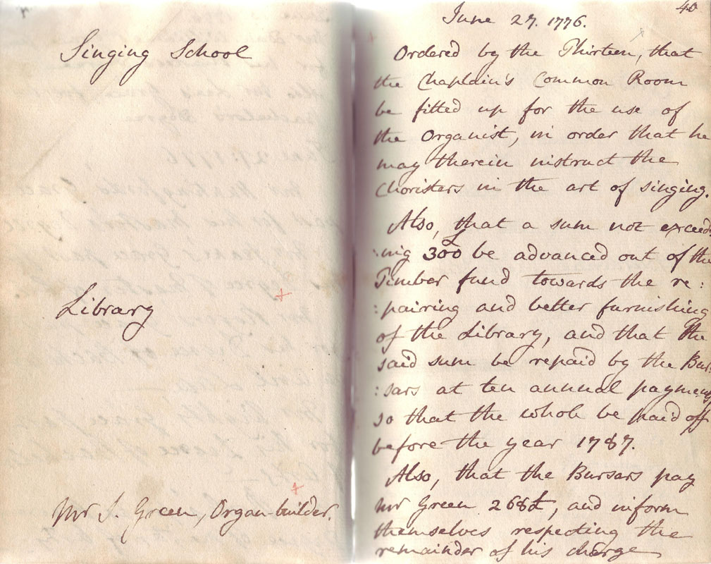 NCA 960, Orders of the Warden and Thirteen concerning Song Room, Library, organ, 27 June 1776
