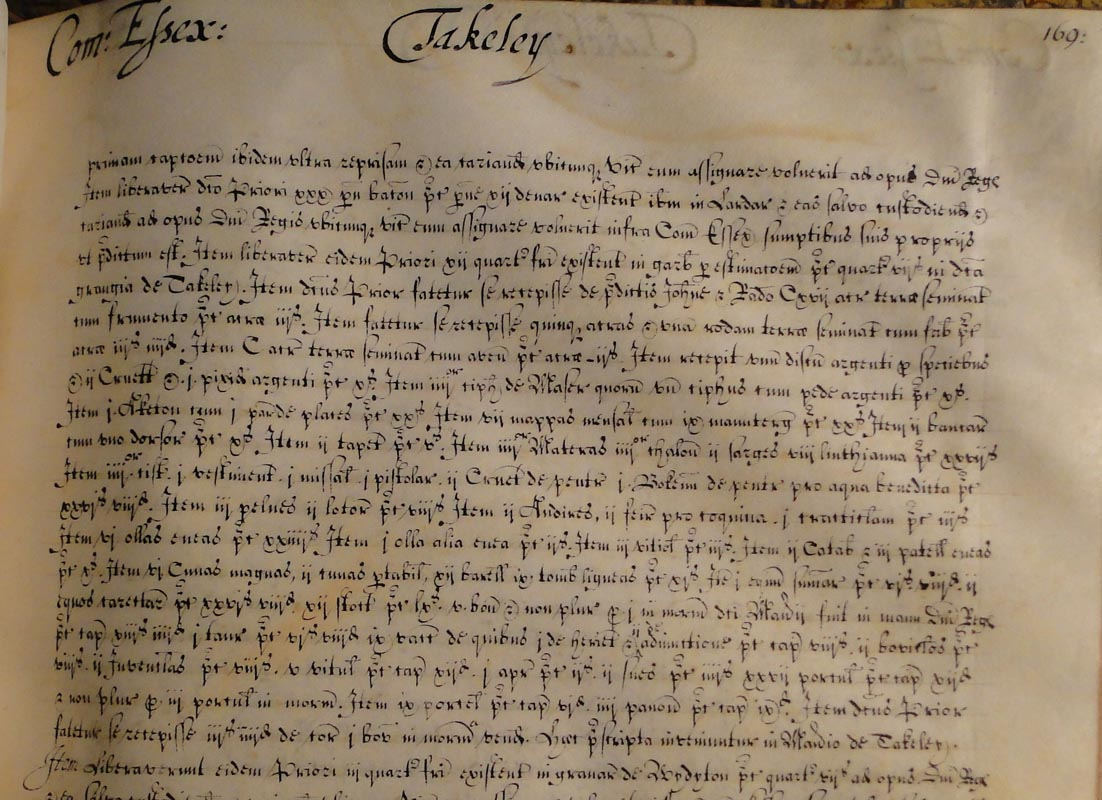 NCA 9790, New College Register of Evidences vol. 4, recording older property rights in Takeley, Essex, but written in c. 1660