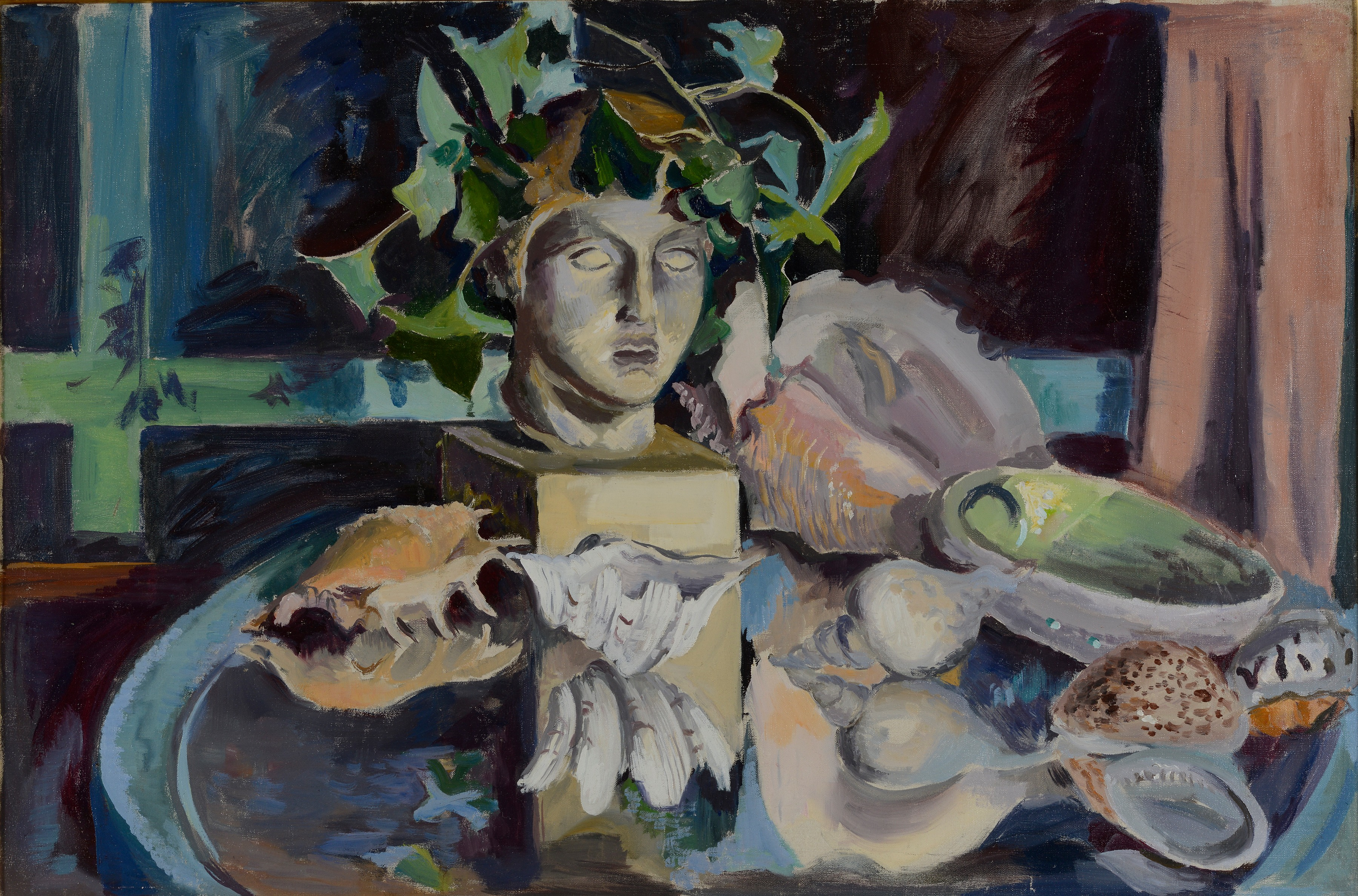 Still Life with Classical Sculpture (Oil on canvas)