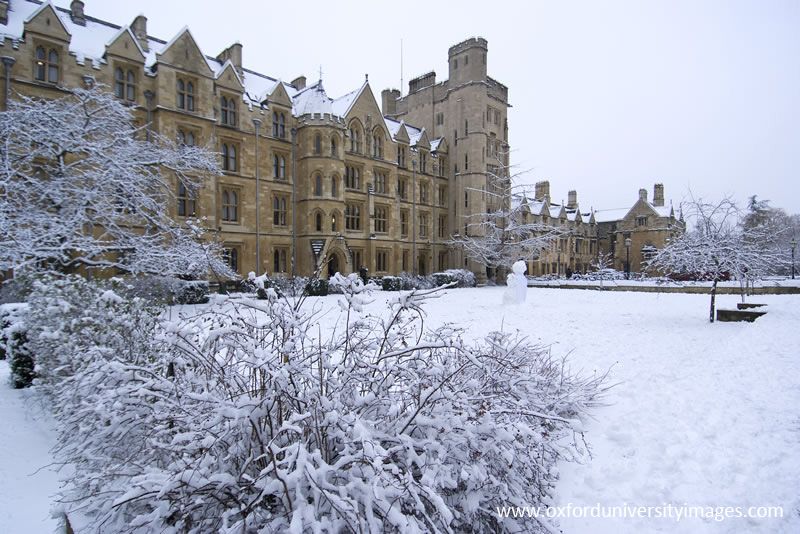 Holywell Quad with Snow