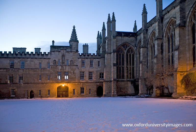 Front Quad at night with snow