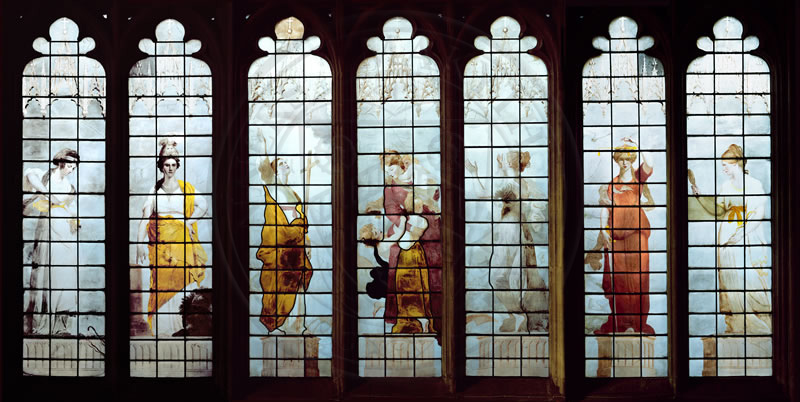 The Seven Cardinal Virtues, stained glass, 18th century, designed by Joshua Reynolds and painted by Thomas Jervais