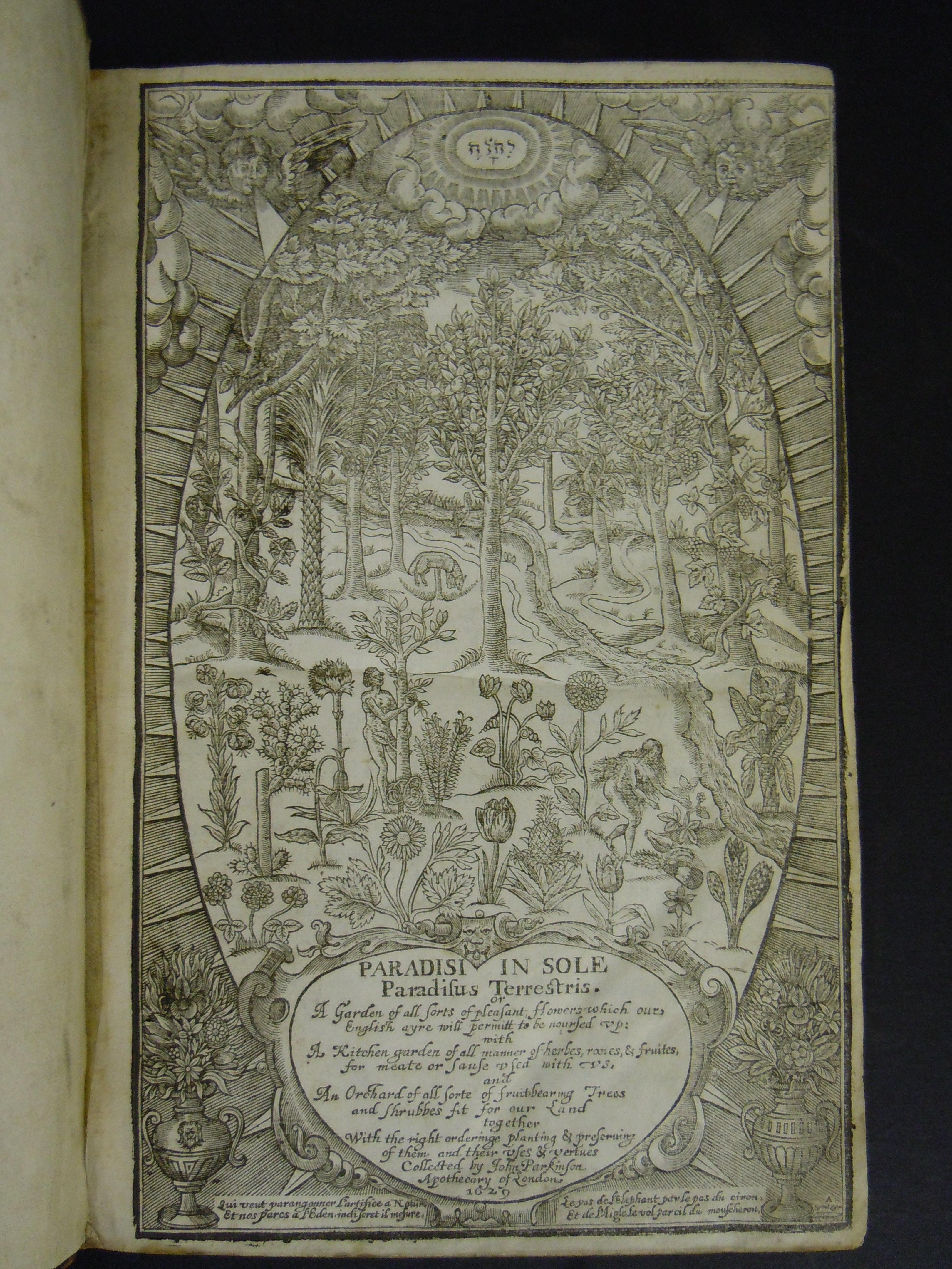 BT1.31.13, title page, John Parkinson's Paradisi in sole paradisus terrestris, 1629