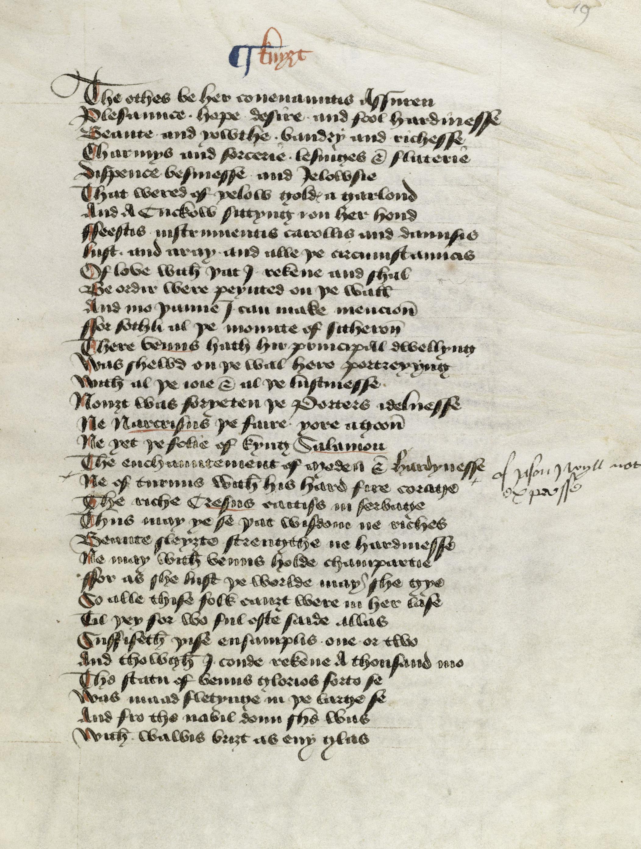 Ms314, f19r, Geoffrey Chaucer's Canterbury Tales, 15thC