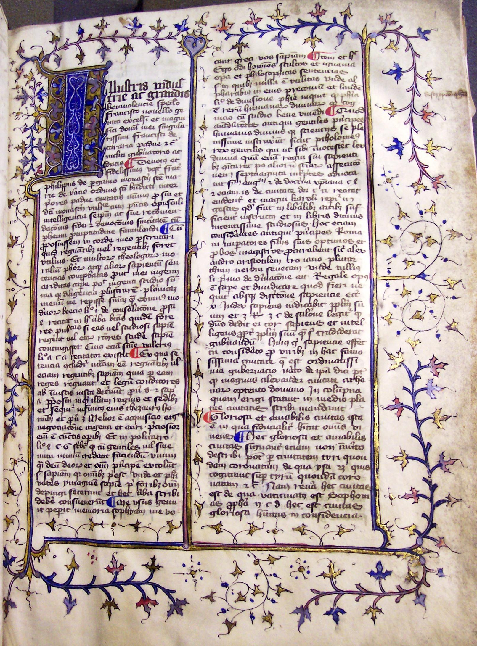 Ms154, f1r, Philippi de Pergamo: Speculum regiminis... , 15thC