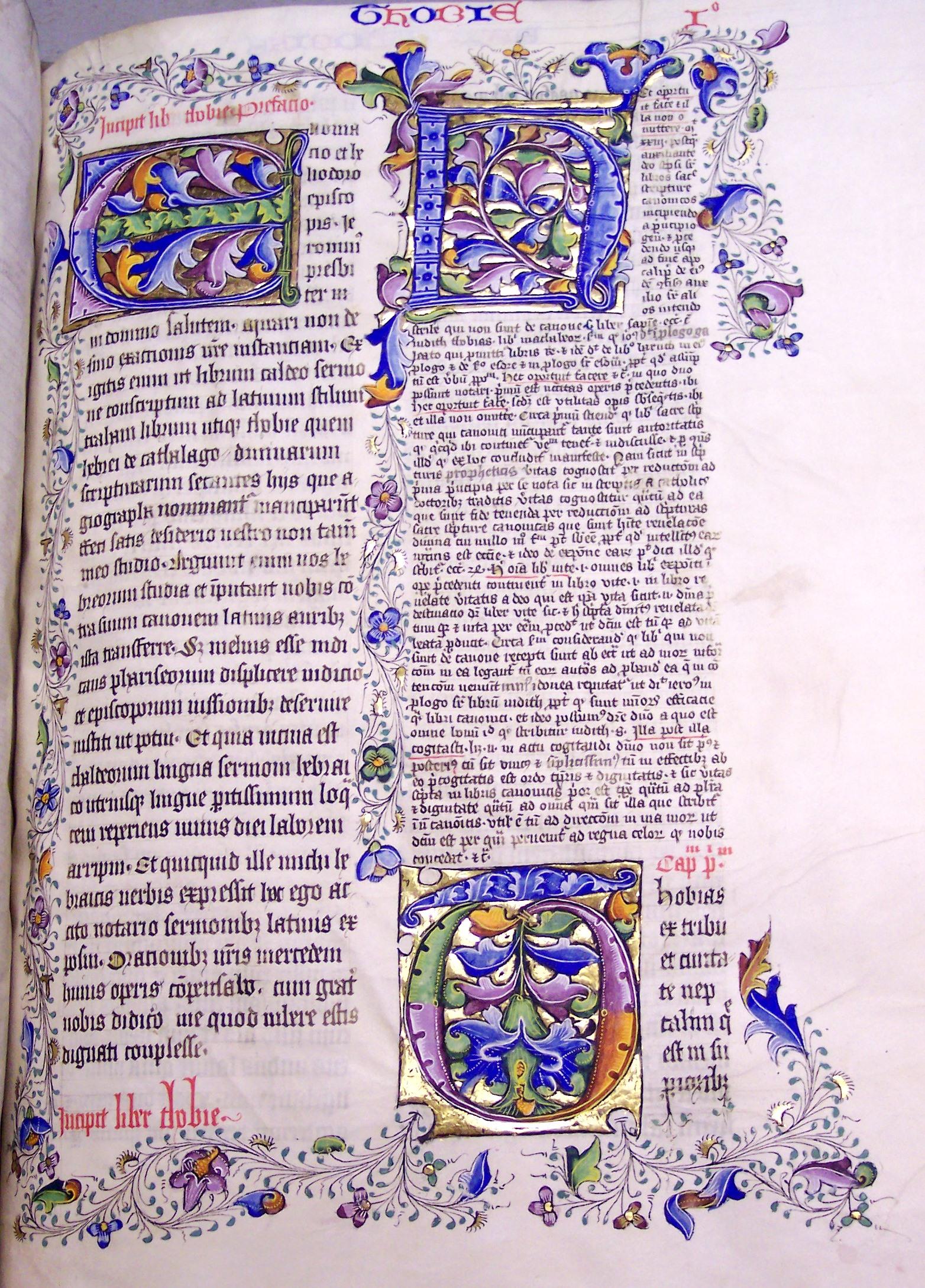 Ms9, f215r, Bible, 15thC