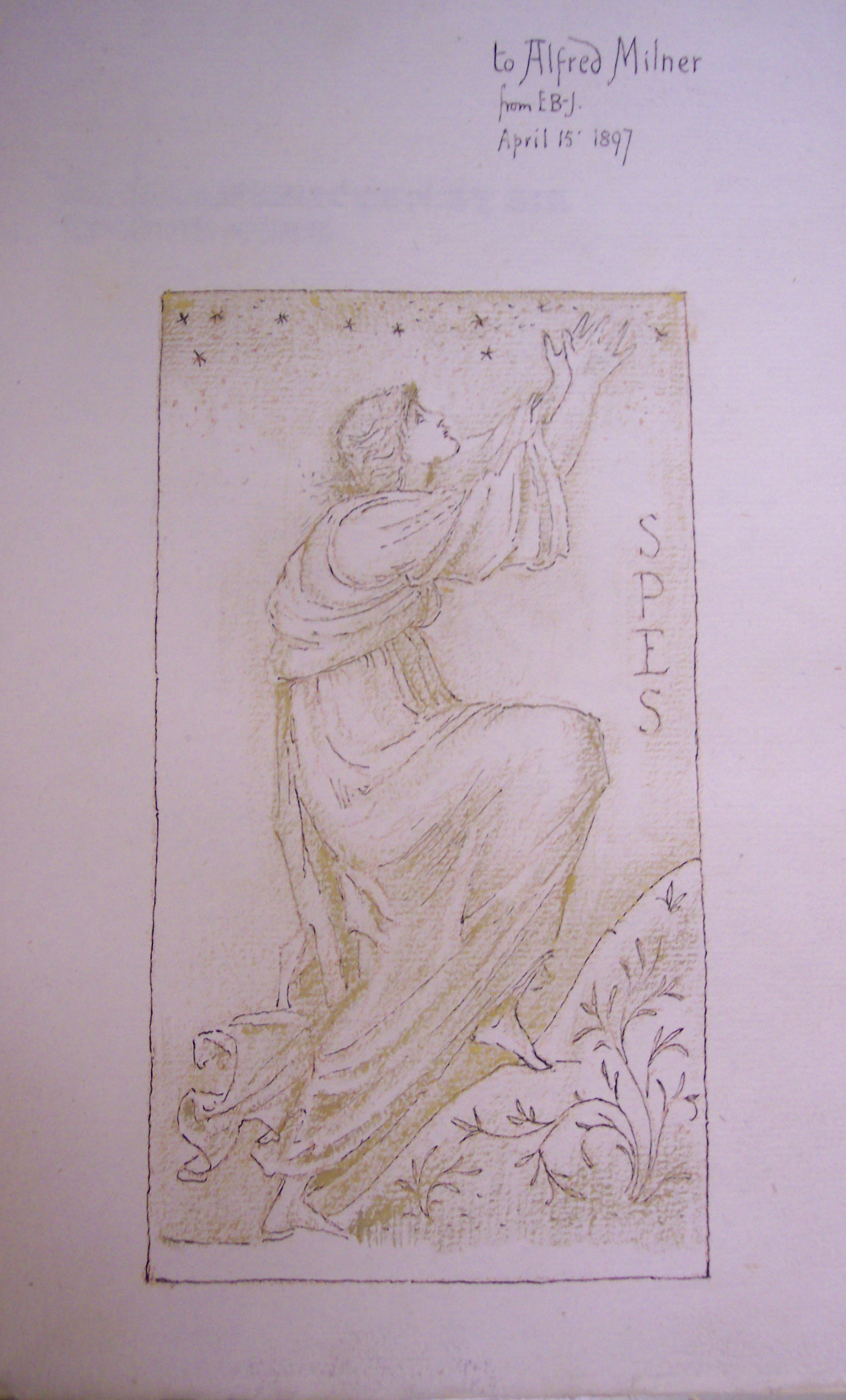 "BT1.128.4, flyleaf, Edward Burne Jones' drawing of ""Spes"", Thomas More's Utopia, 1893 (Kelmscott Press)"