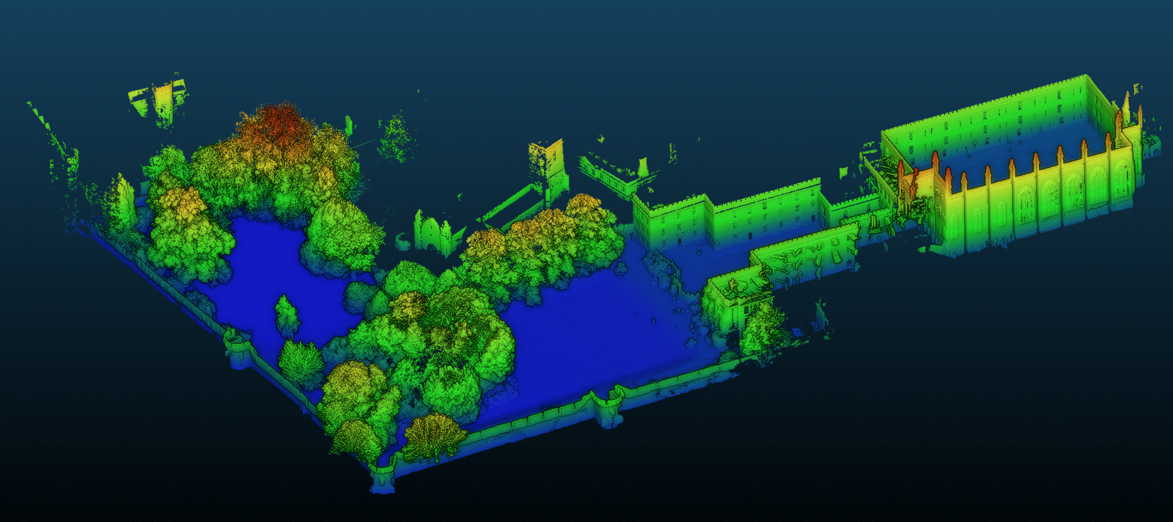 A 3D map of New College's Old Quad and Park coloured according to height