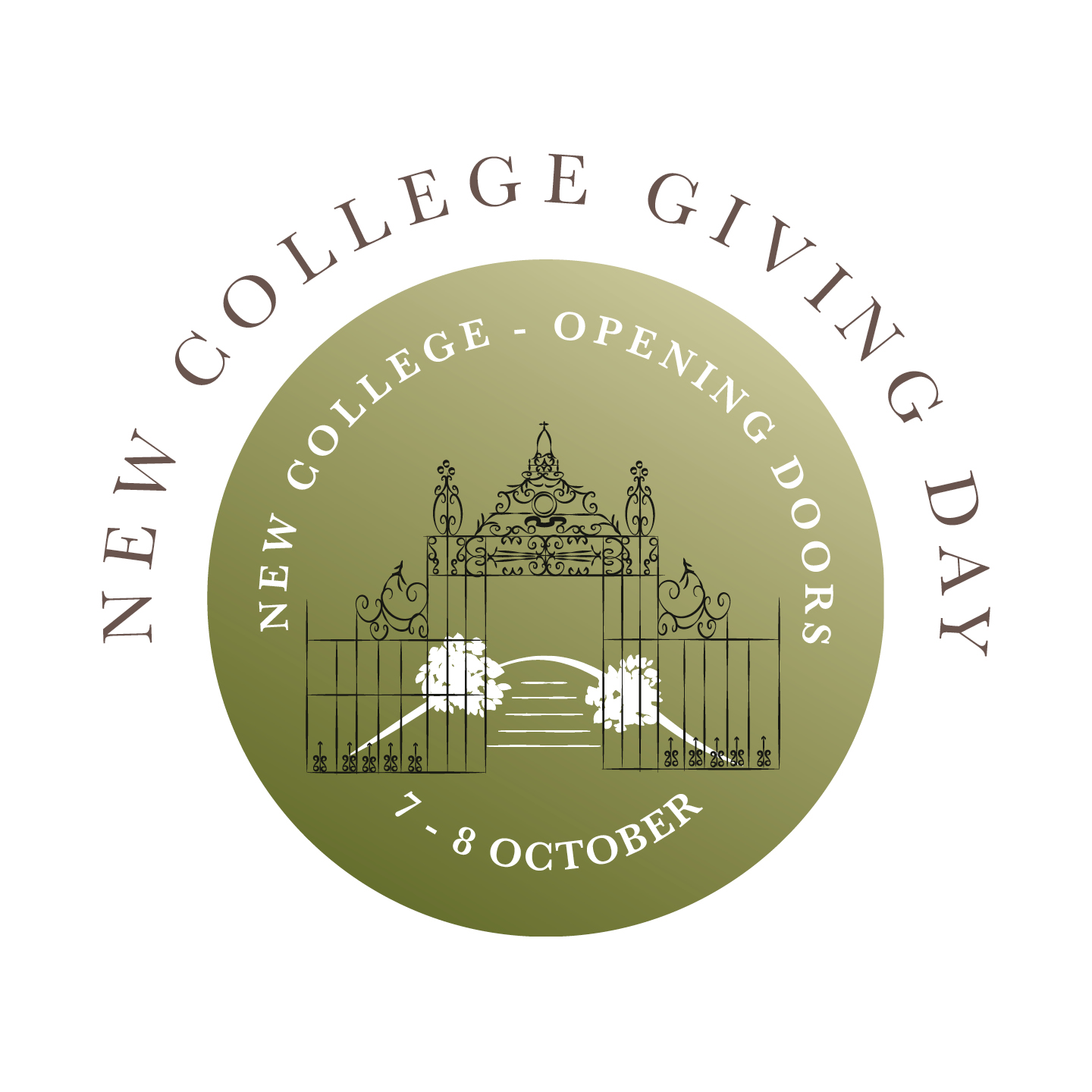 New College Giving Day logo showing iron screen in Garden Quad