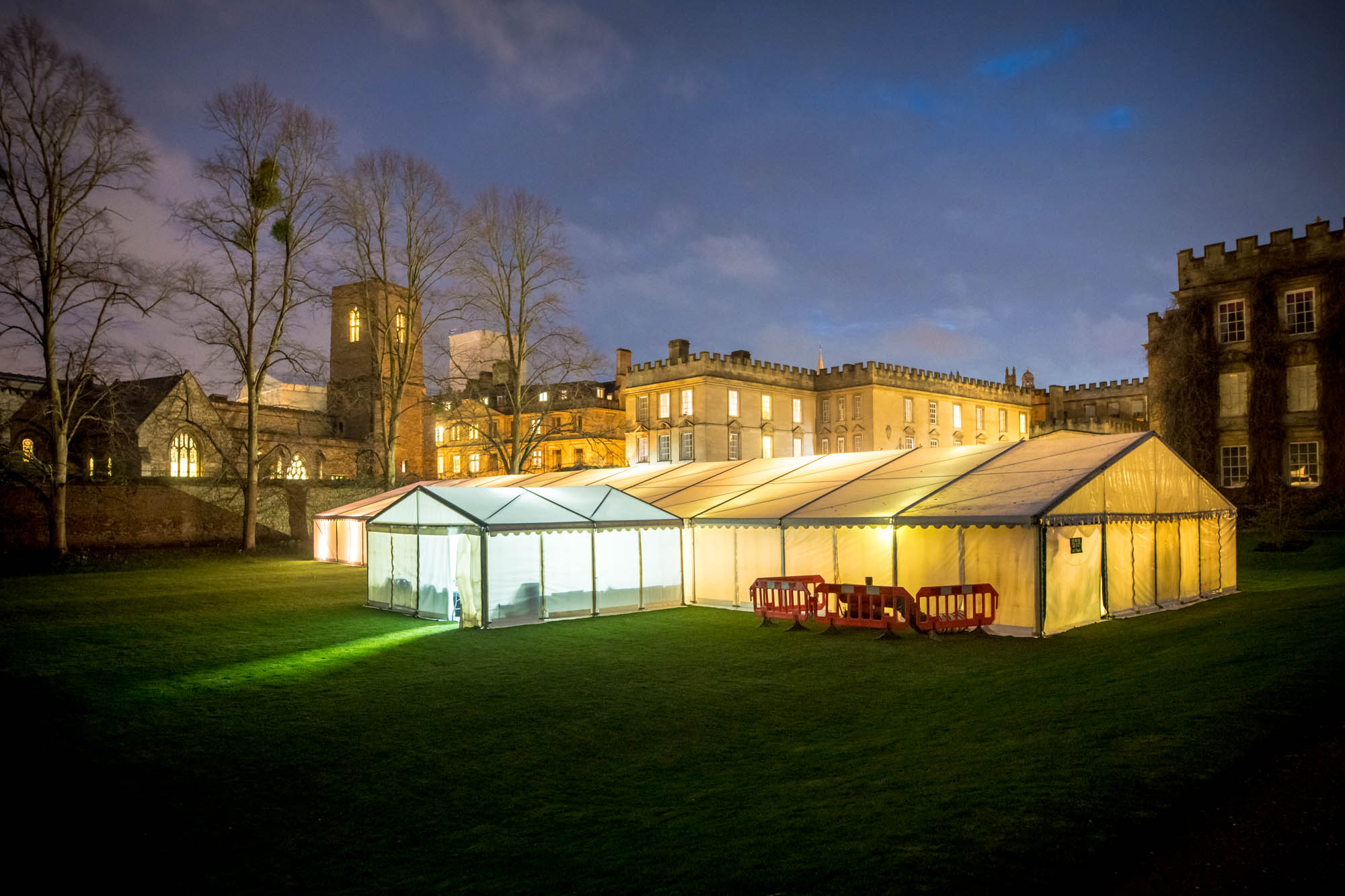 The marquee lit up in the New College gardens