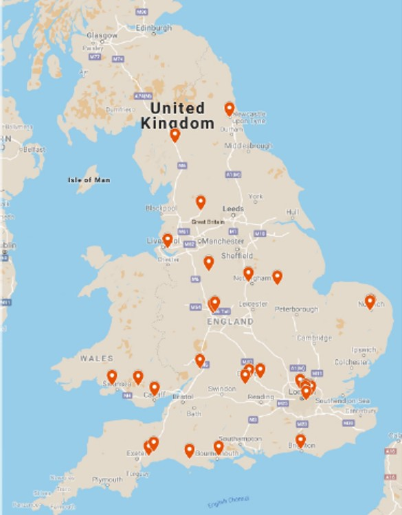 Map showing the locations of all Step Up schools