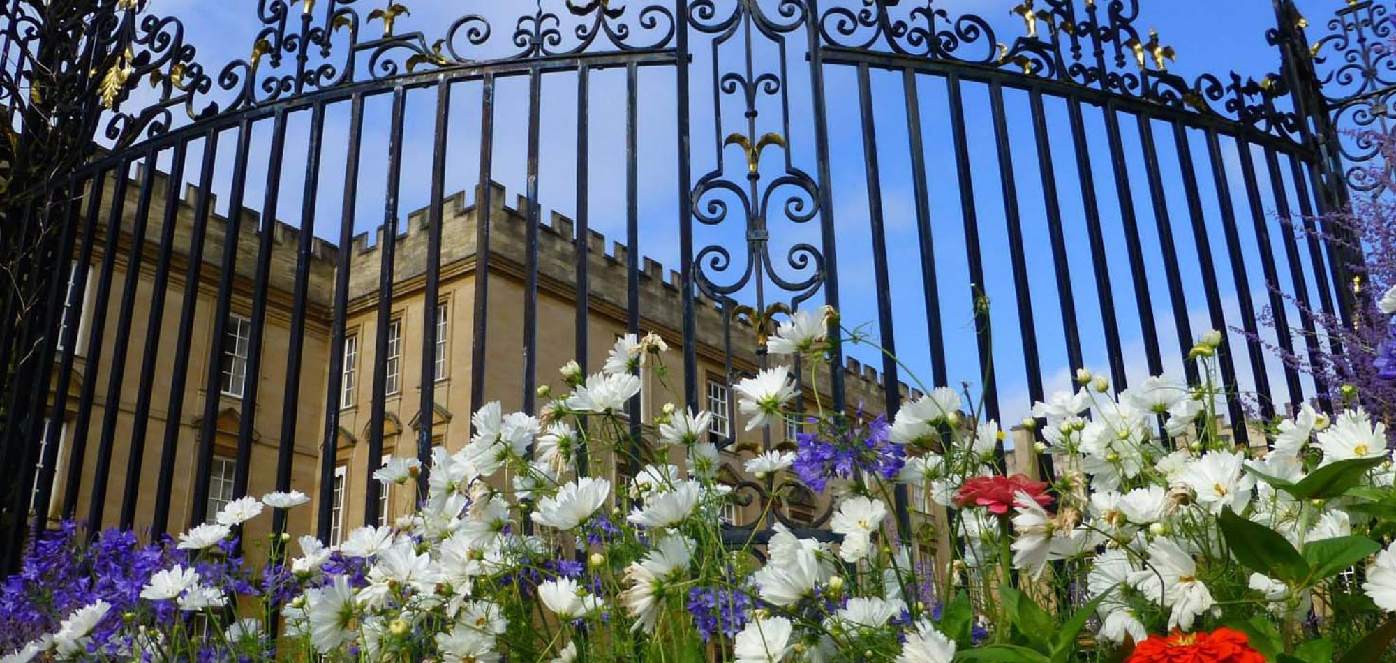 New College Gates with Flowers