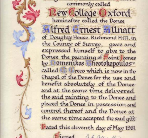 NCA 2814, Certificate recording the gift by Alfred Allnott to New College of El Greco's painting of St James, 1961