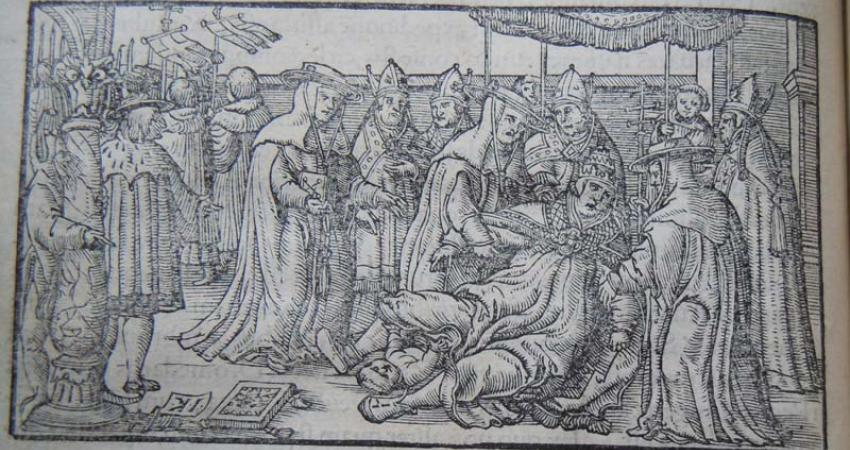 The Pope Gives Birth: from Giovanni Boccaccio, De mulieribus claris (Bern, 1539), New College Library, BT1.128.23(2), fp. LXXIIIv