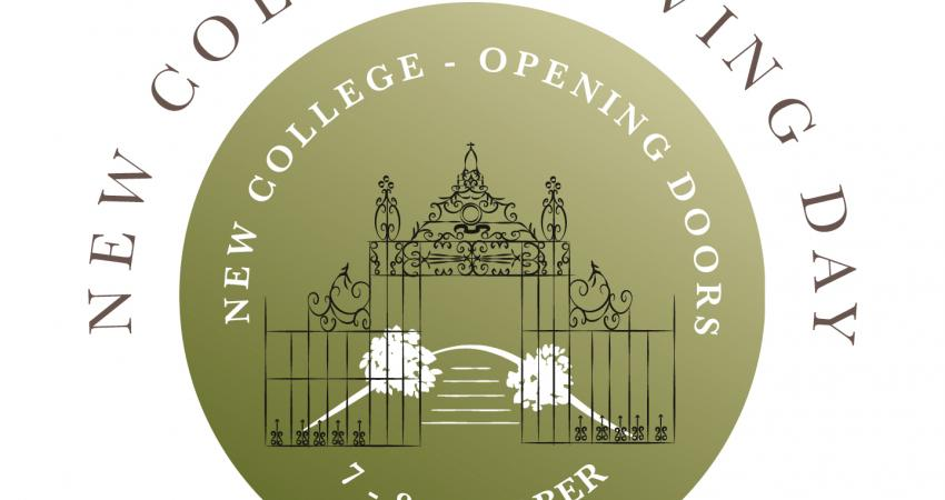 New College Giving Day logo showing the iron screen in Garden Quad