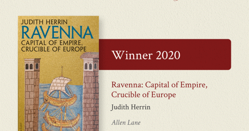 Ravenna book cover and text announcing it as winner of Duff Cooper Prize 2020