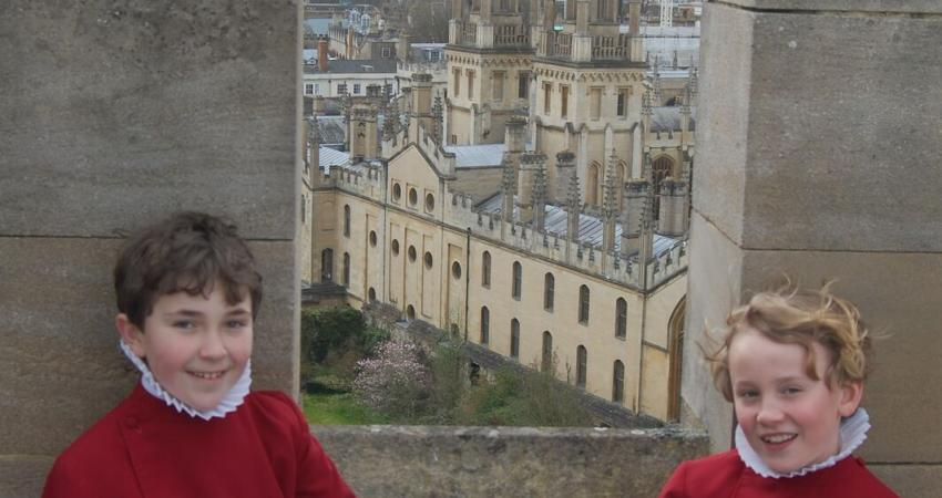 Choristers on the roof overlooking Oxford