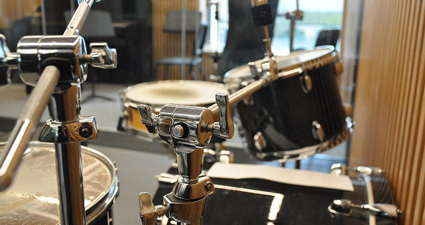 Drums in a practice room
