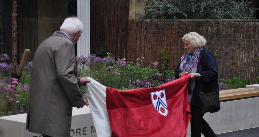 Lord Patten and Dame Vivien Duffield unveil the name stone