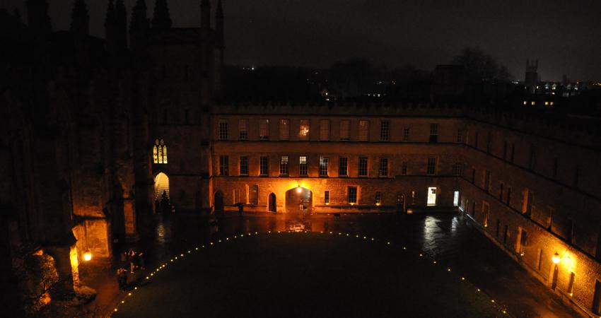 Front Quad with tea lights all around