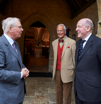 HRH Duke of Gloucester at Wootton Parish Church, greeted by the Warden, and Church Warden, Nicholas Tomlinson